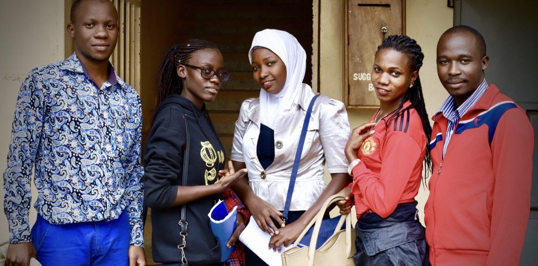Ugandan secondary school teams on exam day